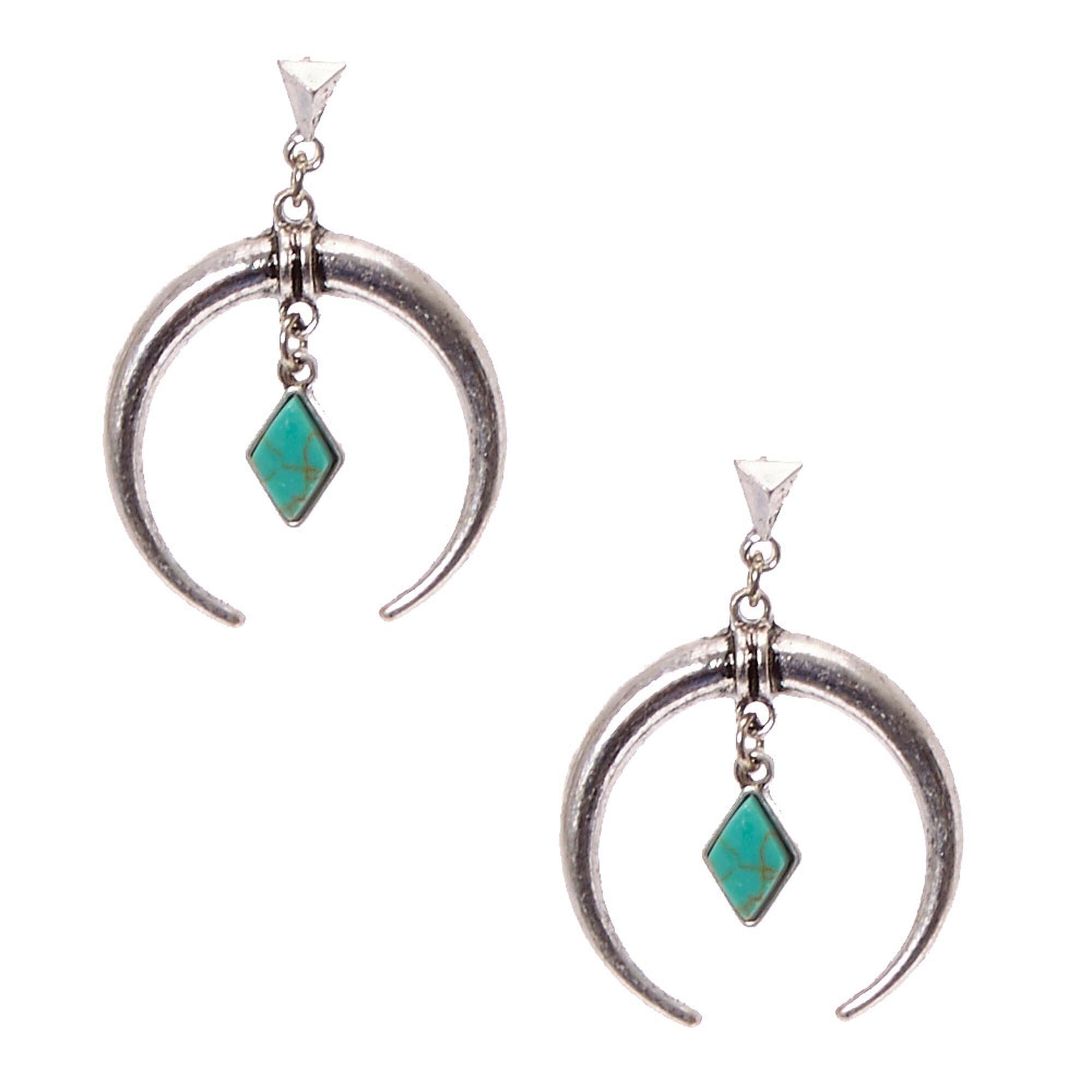 boucles d'oreilles Claire's croissant de lune et turquoise