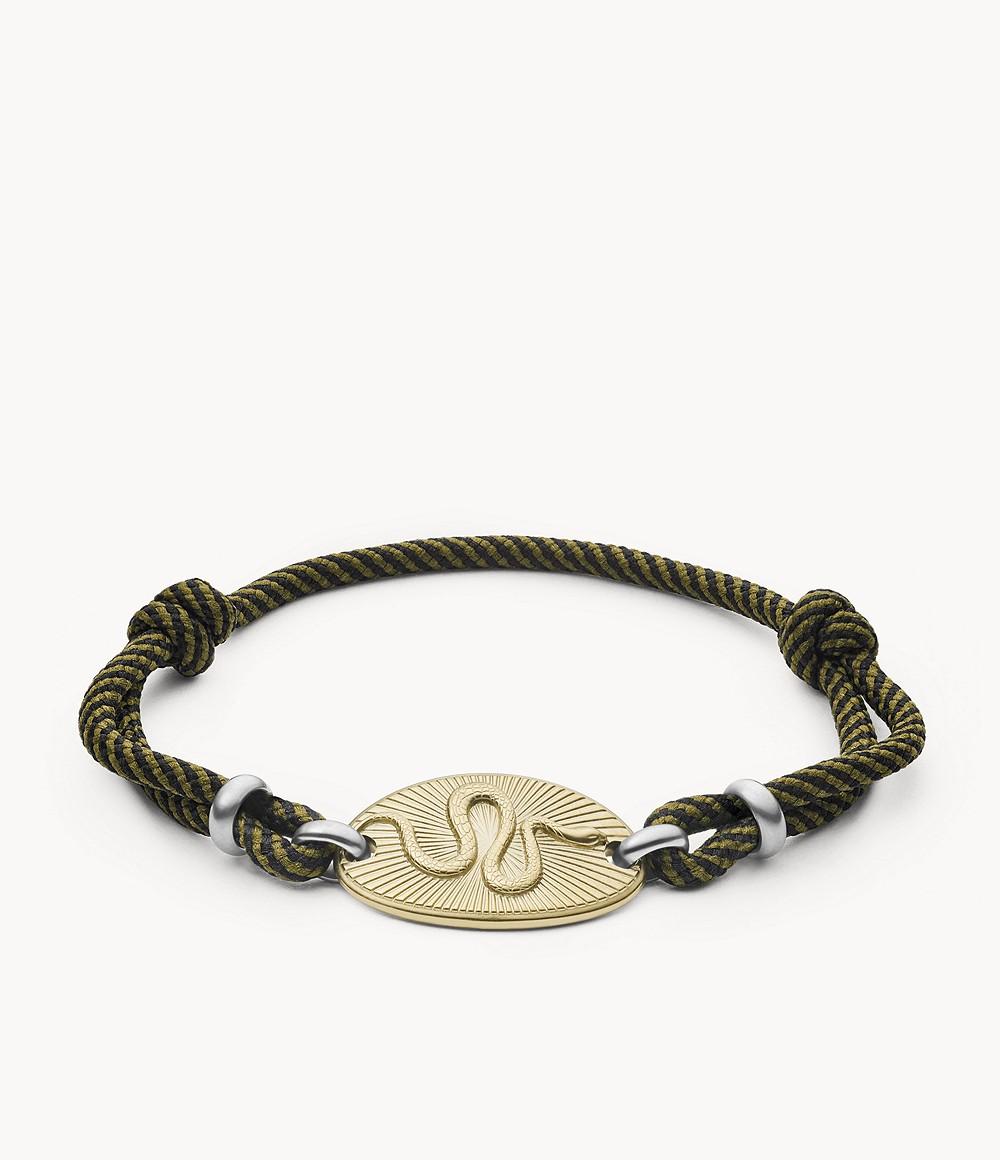 bracelet corde et acier inoxydable serpent Fossil