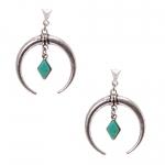 Boucles d'oreilles pendantes croissant de lune et sa turquoise