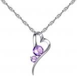 Pendentif coeur stylisé avec cristaux parme